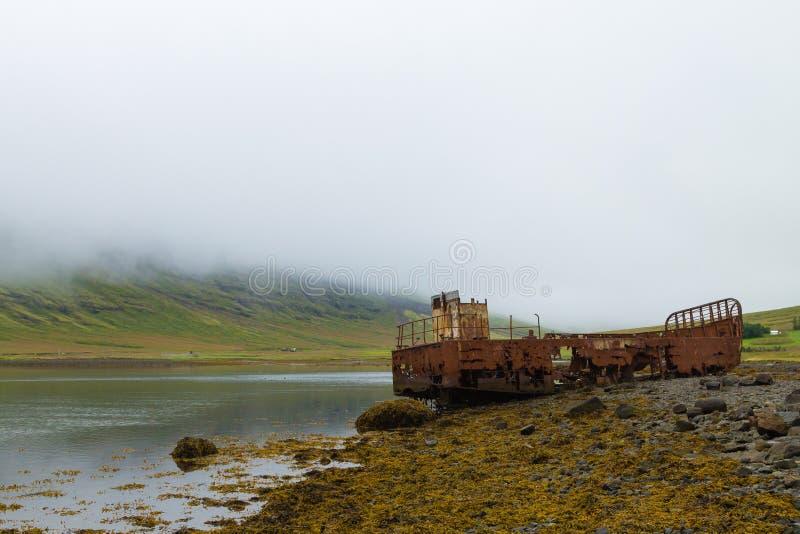 从Mjoifjordur峡湾,东部冰岛的海难 冰岛全景 库存照片