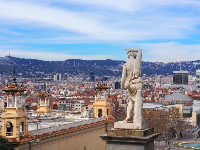 从Montjuic城堡的巴塞罗那视图 库存图片