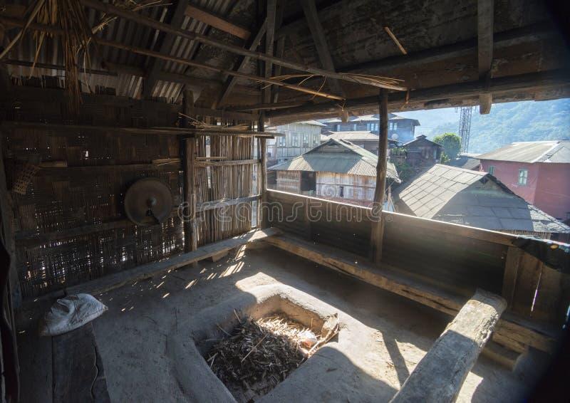 从Morong在Khonoma村庄,那加兰邦,印度,亚洲的看法 免版税库存照片