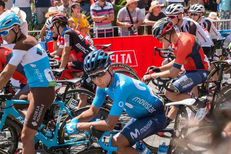 从Movistar循环的队的Nairo安德烈斯在La开始前布埃尔塔第二个回合2018年 免版税库存照片