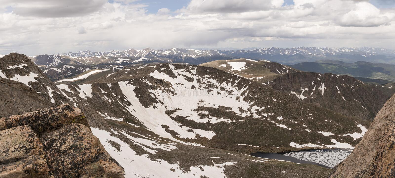 从Mt的Summit湖 全景的伊万斯 免版税库存图片