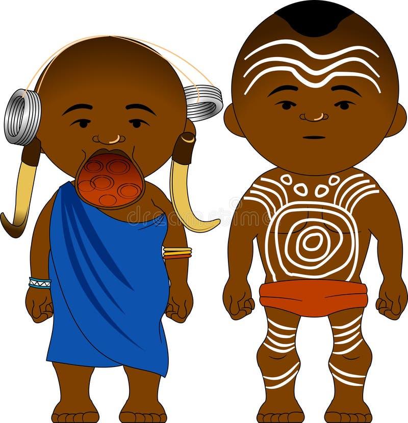 从Mursi埃塞俄比亚的快乐的非洲夫妇 皇族释放例证