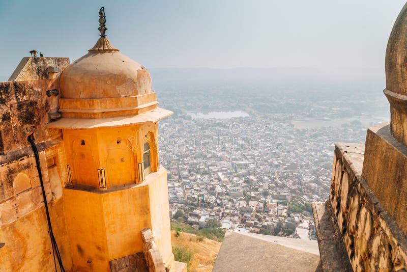 从Nahargarh堡垒的斋浦尔cityspace在印度 库存照片