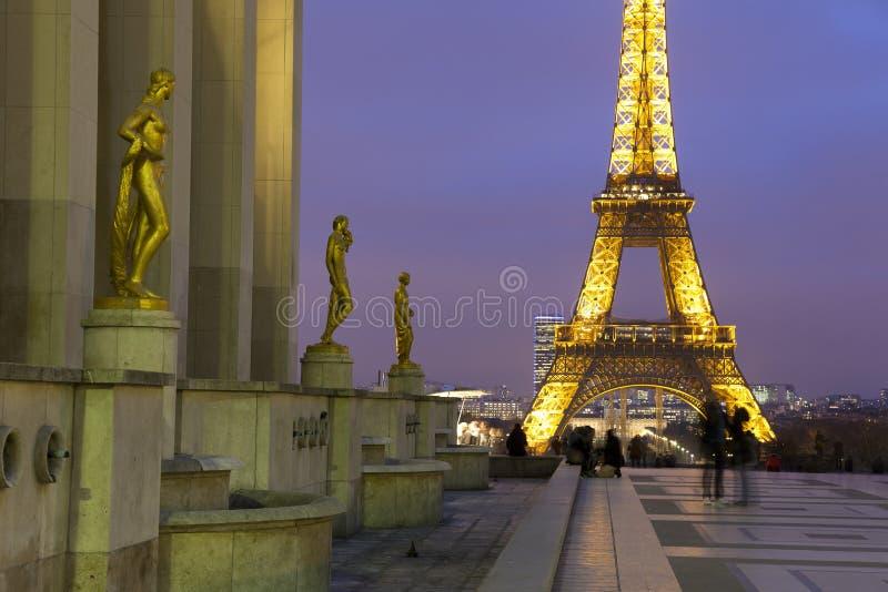 从Palais de Chaillot,巴黎的埃佛尔铁塔 免版税库存照片