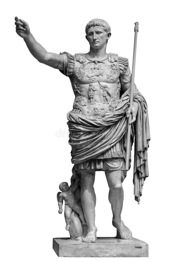 从Prima波尔图雕象的罗马皇帝奥古斯都被隔绝在白色背景 免版税库存图片