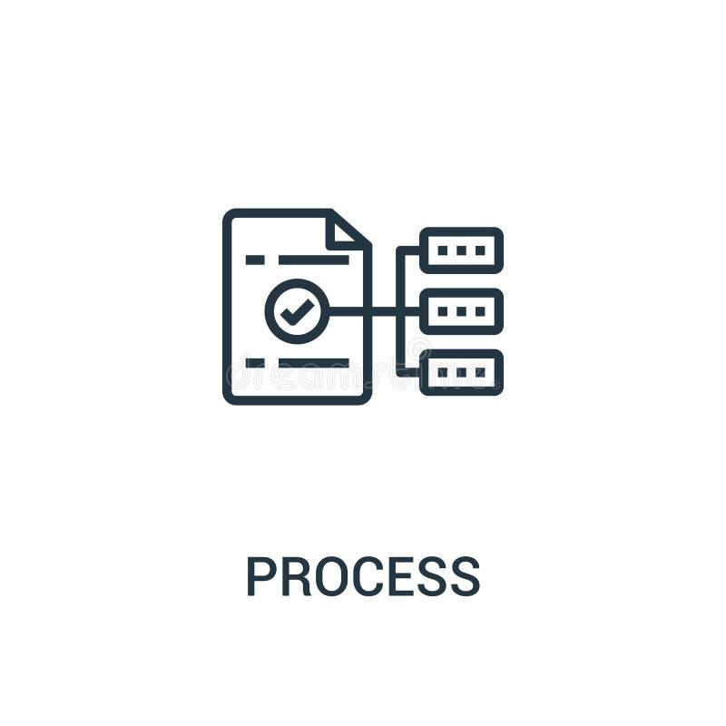 从seo汇集的处理象传染媒介 稀薄的线过程概述象传染媒介例证 线性标志为在网的使用和 向量例证