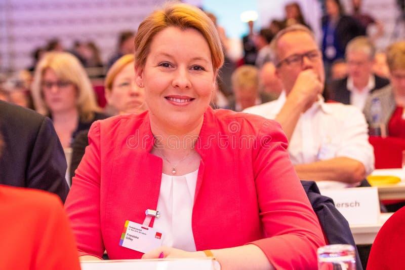 从SPD的弗兰奇斯卡Giffey在他们的党代会 免版税库存照片