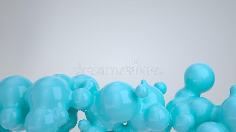 从spherecial形状的抽象蓝色泡影 库存例证