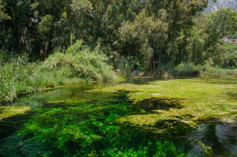 从Ula/Akyaka/Mugla的Azmak河 免版税库存图片