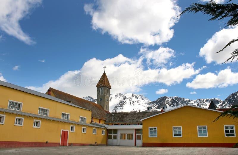 从Ushuaia的有历史的教会。 免版税图库摄影