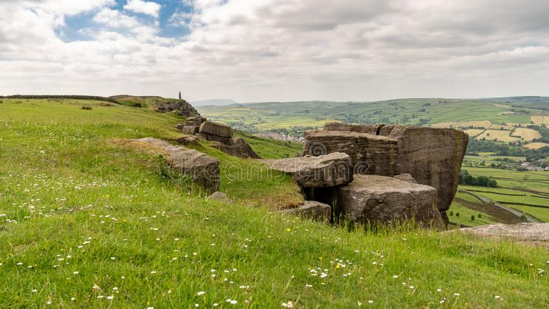 从Wainman的石峰的看法,在整流罩附近,北约克郡,英国,英国 免版税图库摄影