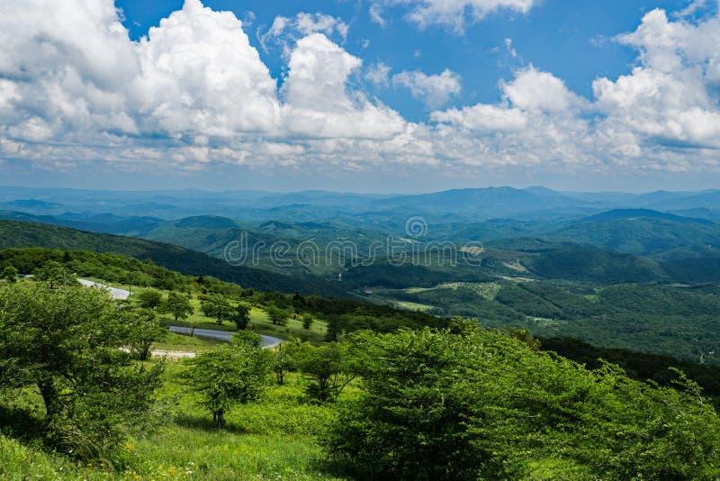 从Whitetop山,格雷森县,弗吉尼亚,美国的全景 库存图片