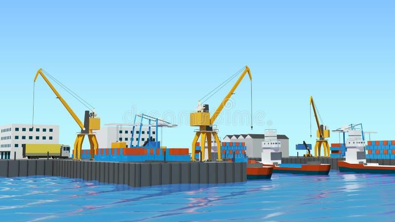仓库口岸等角投影 有容器的船在口岸的停泊处,起重机,工作者 汽车,飞机棚 向量例证