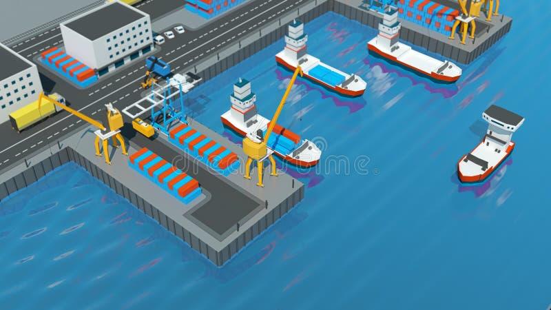 仓库口岸等角投影 有容器的船在口岸的停泊处,起重机,工作者 汽车,飞机棚 库存例证