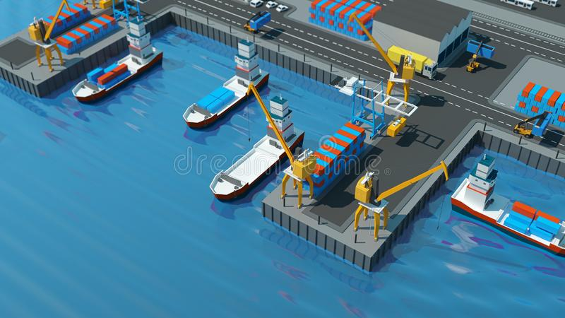 仓库口岸等角投影 有容器的船在口岸的停泊处,起重机,工作者 汽车,飞机棚 皇族释放例证