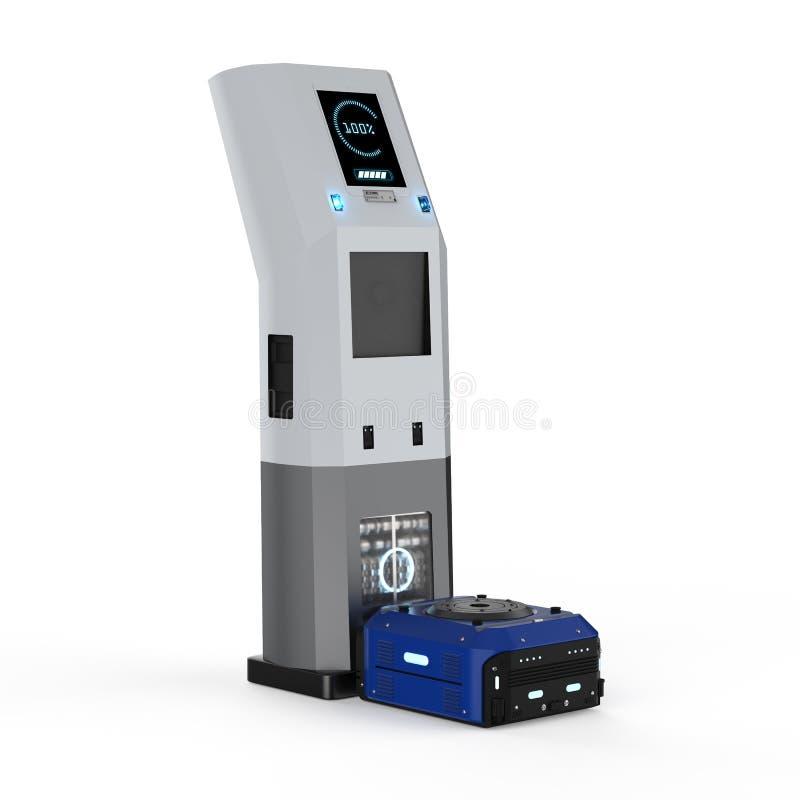 仓库在驻地的机器人充电 向量例证