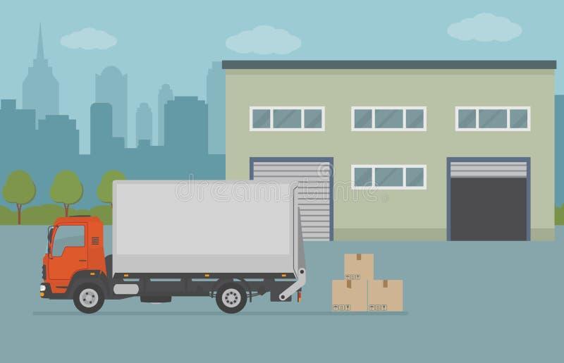 仓库大厦和卡车在城市背景 库存例证