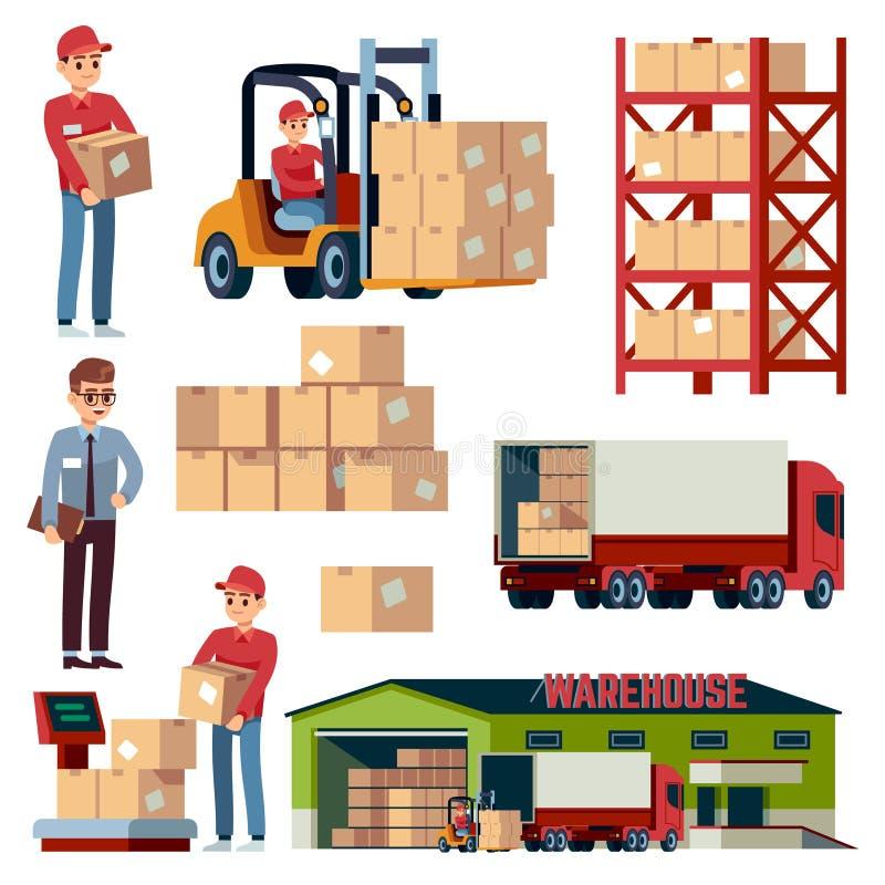 仓库平的元素 后勤运输和铲车,交付货物卡车 与箱子被隔绝的传染媒介的装载者 向量例证