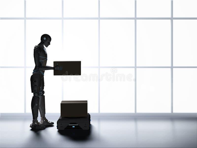 仓库机器人和靠机械装置维持生命的人 库存例证