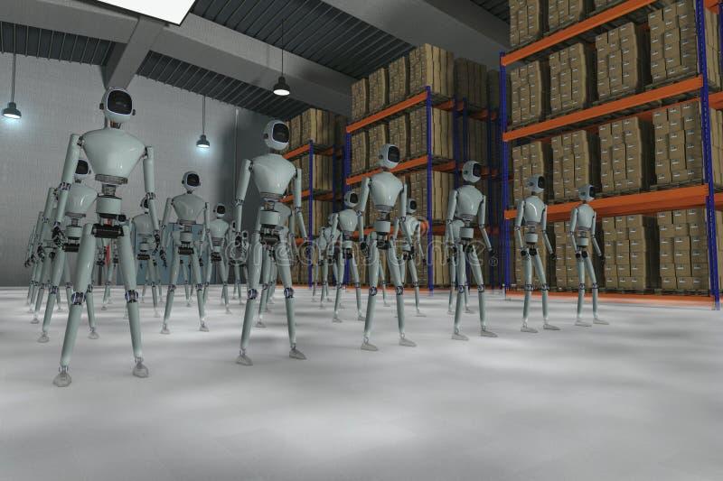 仓库机器人 皇族释放例证