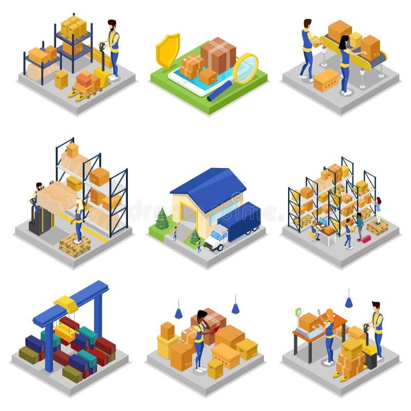 仓库管理等量3D集合 库存例证