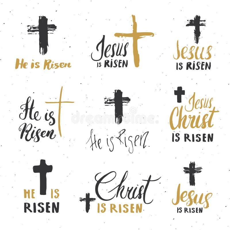他上升,在与耶稣受难象标志的集合宗教标志上写字 手拉的基督徒十字架,难看的东西构造了减速火箭的徽章,葡萄酒 库存例证
