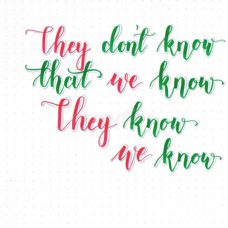 `他们穿上` t知道我们知道他们知道我们认识`在绿色和红色的手字法 向量例证