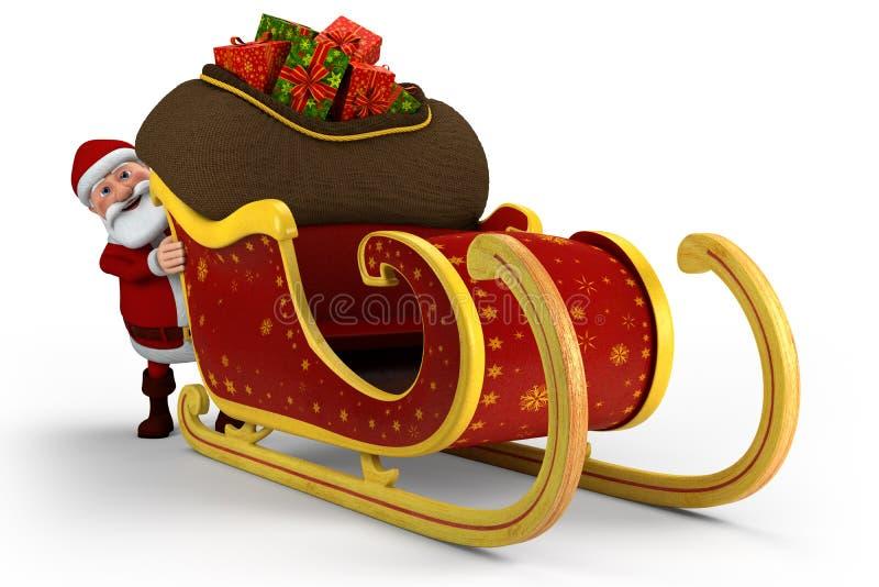 他推进的圣诞老人雪橇 向量例证