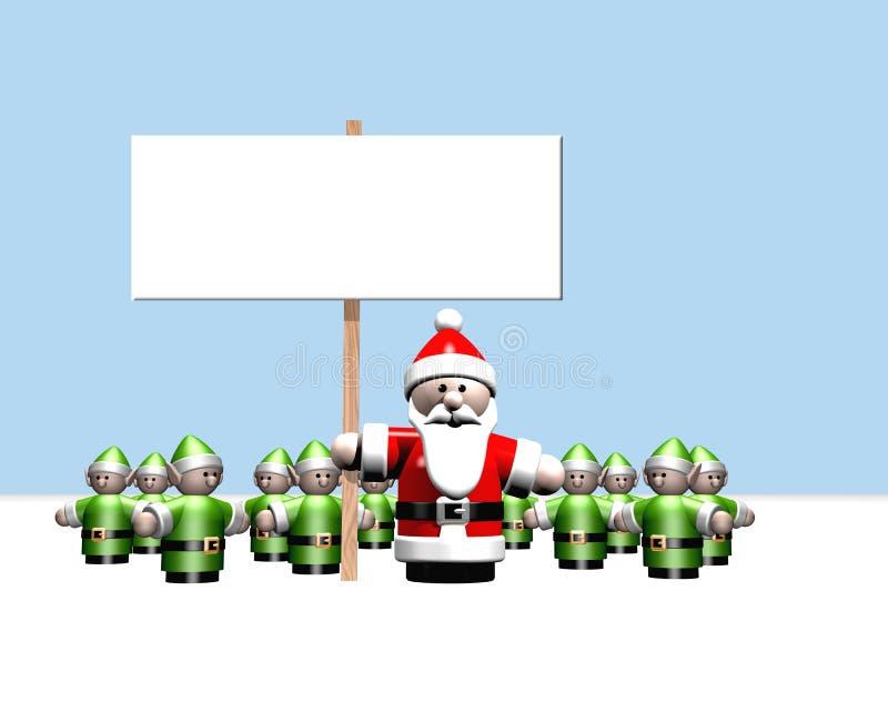 他暂挂的圣诞老人符号包围的所有辅助工 库存例证