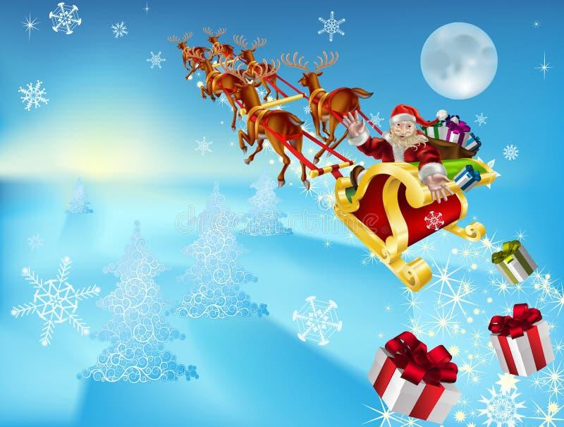 他的圣诞老人雪橇 向量例证