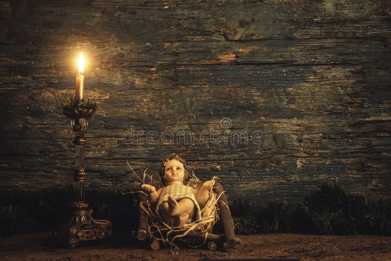 他的小儿床的孩子耶稣, xmas卡片 库存图片
