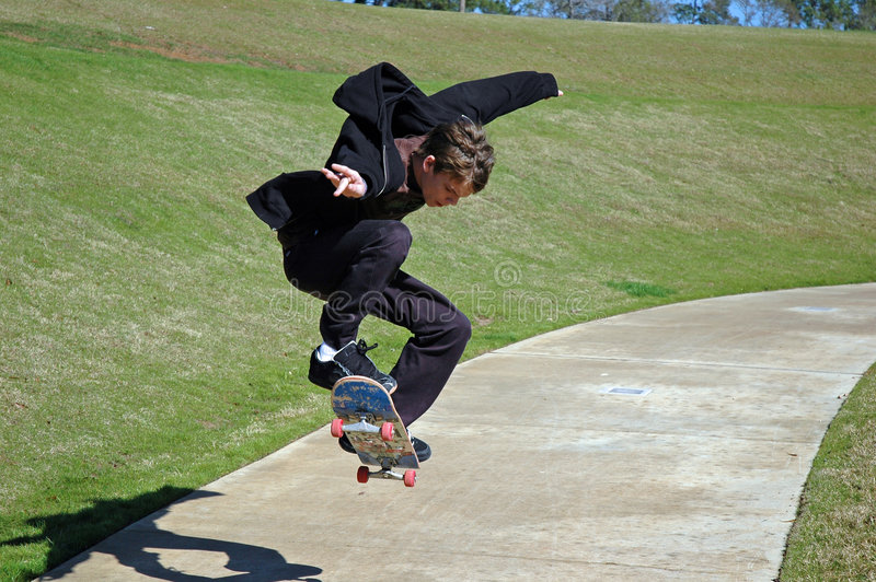 他的影子溜冰者 免版税库存图片