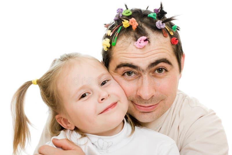 他的拥抱的女儿父亲 图库摄影