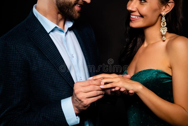 他的播种的特写镜头画象他她她好的华美的迷人的完善的有吸引力的豪华快乐的二人灵魂 免版税库存照片