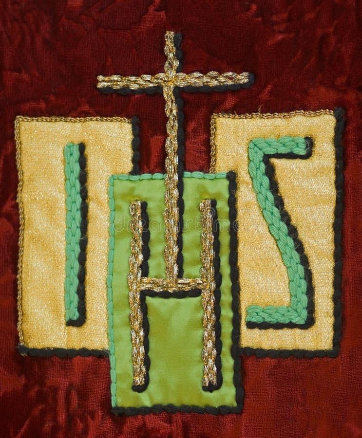 他的耶稣组合图案符号挂毯 免版税库存照片