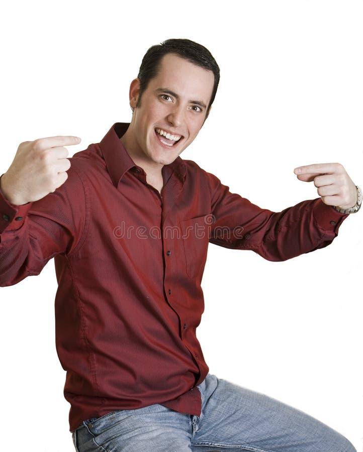 他自己供以人员指向年轻人 免版税库存照片