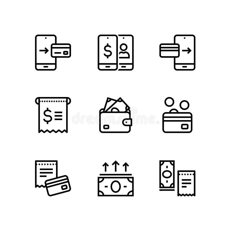 付款、金钱、财务、卡片和现金导航网和流动设计组装的2线象 向量例证