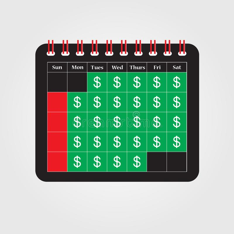 付款日期的概念或发薪日贷款喜欢 皇族释放例证