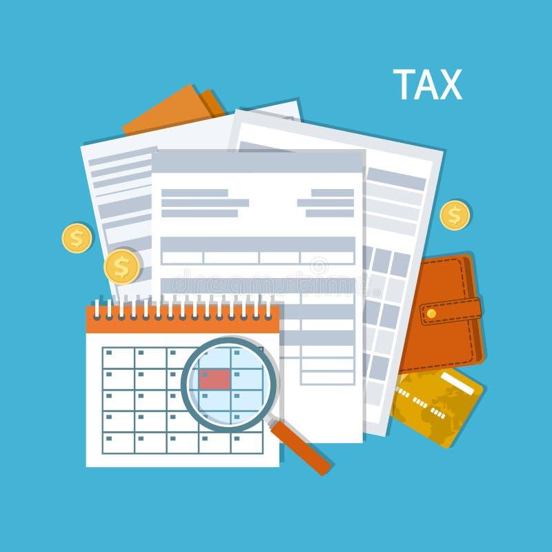 付税 政府,州税 付款天 报税表,财政日历 发薪日象 库存例证