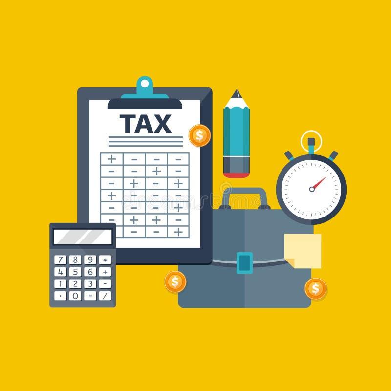 付税 政府,州税 数据分析,文书工作,金融研究,报告 商人演算纳税申报 向量例证