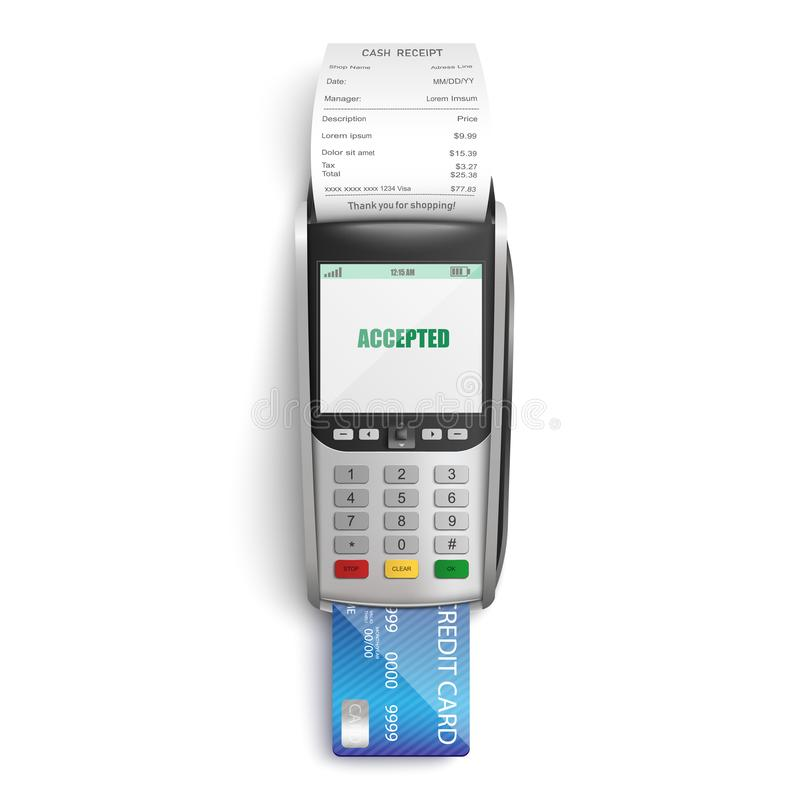 付购买的成功的付款在商店或超级市场由信用卡通过POS终端 向量例证