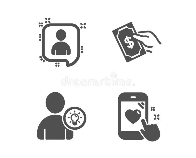 付钱,开发商聊天和用户想法象 心脏规定值标志 拿着现金,经理谈话,电灯泡 ?? 向量例证