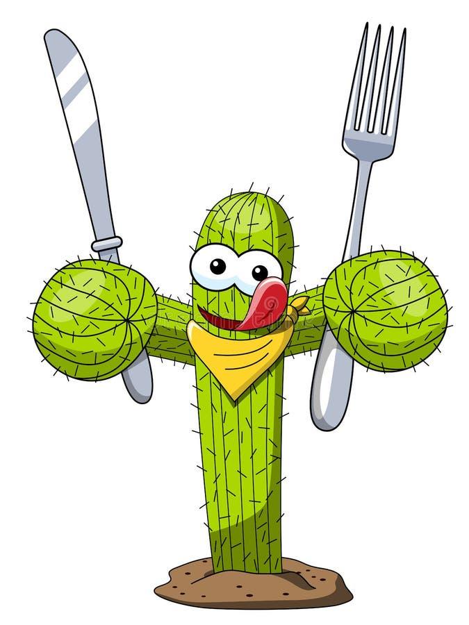 仙人掌动画片滑稽的字符传染媒介饥饿的吃叉子刀子隔绝了 库存例证