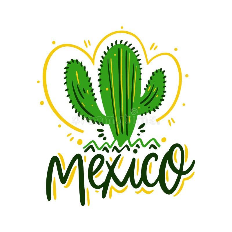 仙人掌和墨西哥字法 象查找的画笔活性炭被画的现有量例证以图例解释者做柔和的淡色彩对传统 向量例证