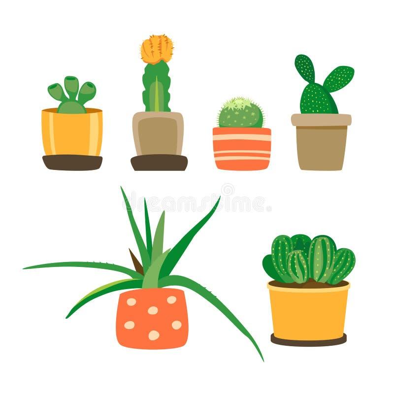 仙人掌和多汁植物的不同的类型 罐的家庭植物 在白色背景在一个平的样式的逗人喜爱的花象隔绝的 库存例证