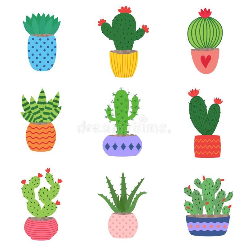 download 仙人掌和多汁植物罐的 生长在逗人喜爱的小的罐的例证套手拉图片