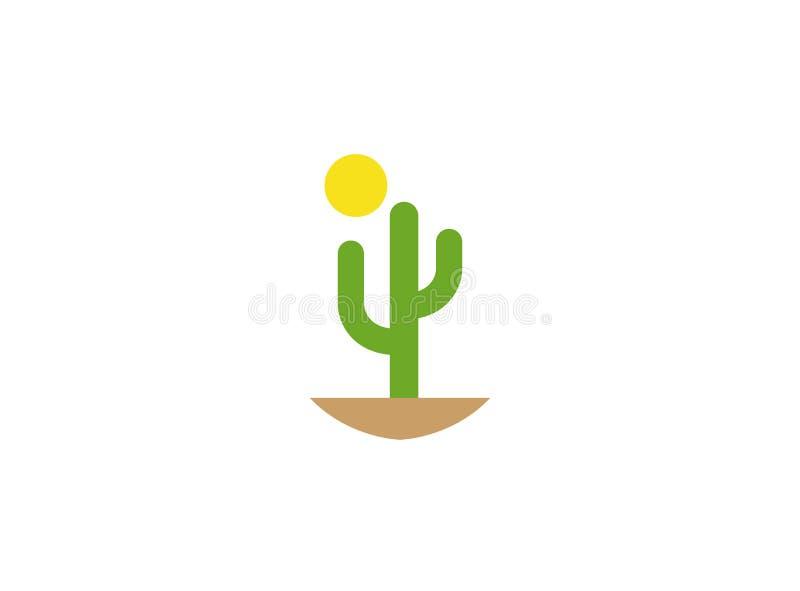 仙人掌和太阳在商标的沙漠 向量例证
