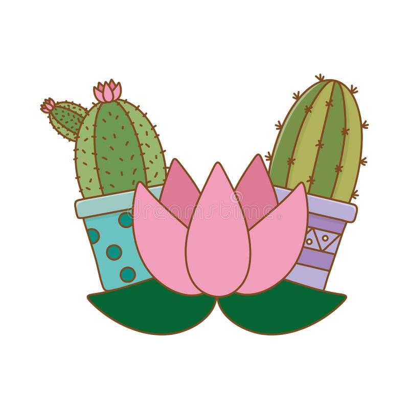 仙人掌和开花 向量例证