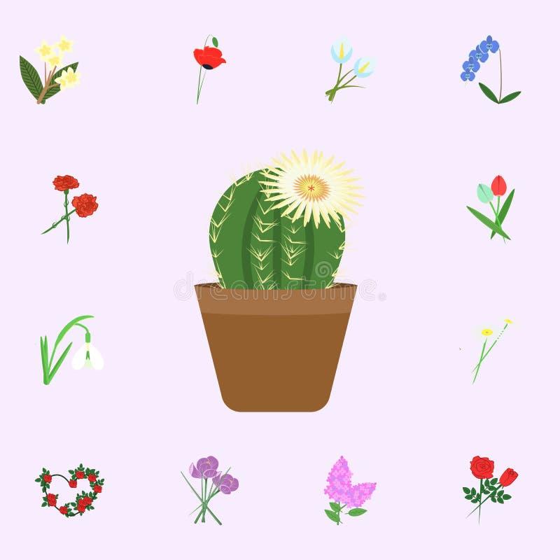 仙人掌和白花颜色象 网和机动性的花象全集 向量例证