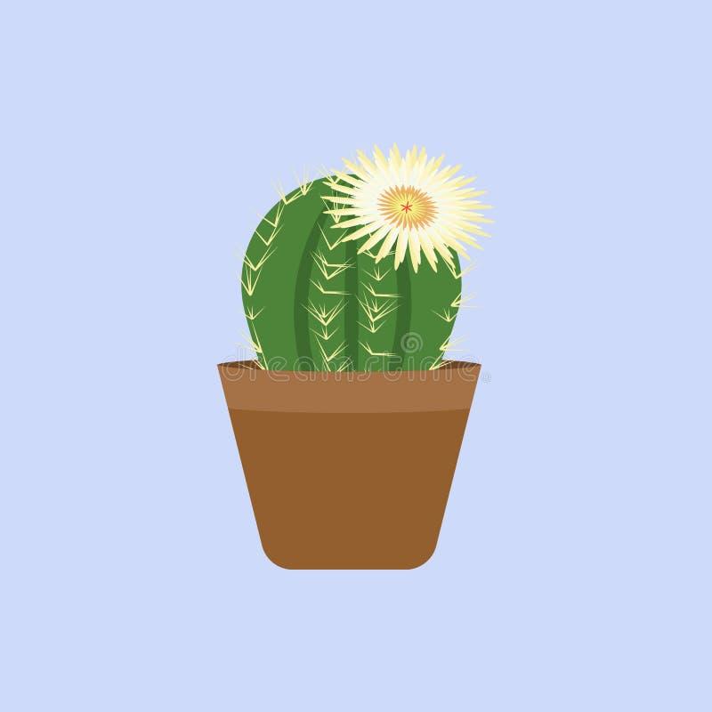 仙人掌和白花颜色象 色的美好的花象的元素流动概念和网apps的 颜色仙人掌和w 向量例证